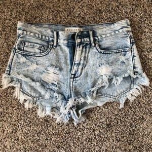 Distressed high waisted light wash jean shorts